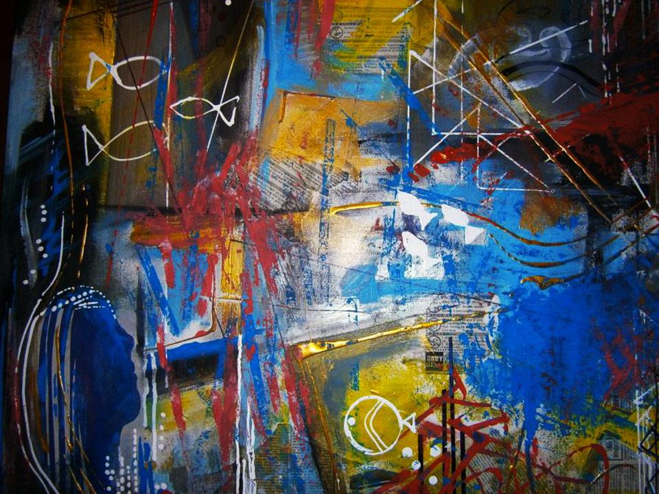 Aquarius - tecnica mista su tela cm 80 x 60 anno 2014 (collezione privata)