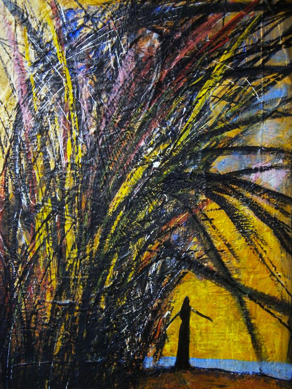 Il colore del vento - tecnica mista su pannello in faesite cm 50 x 70 anno 2016