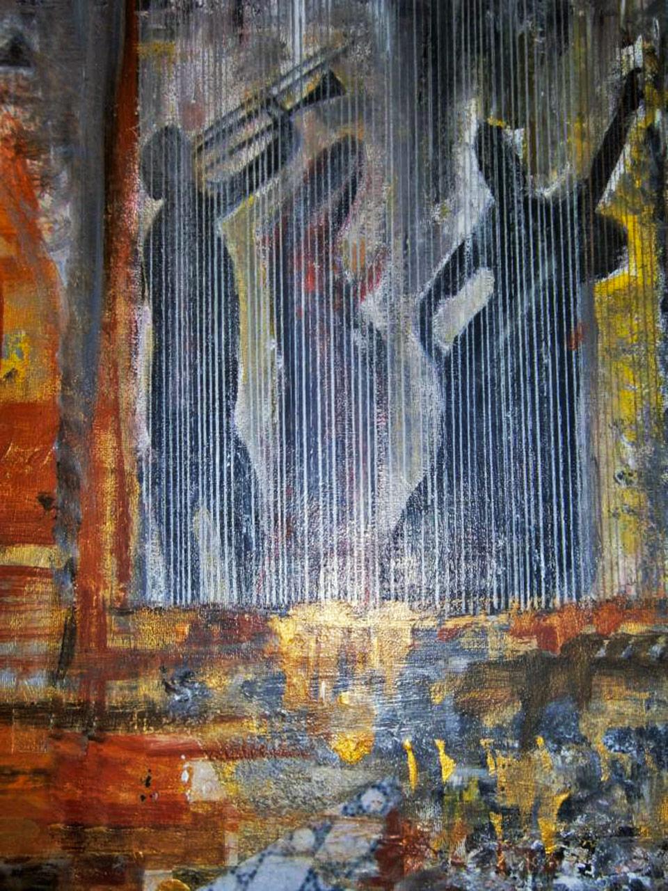 L'orchestrina jazz- tecnica mista su tela cm 50 x 50 anno 2014 (collezione privata)