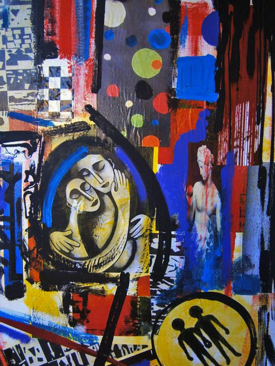 Poveri Amanti (Poor Lovers) - tecnica mista su tela cm 60 x 80 anno 2015